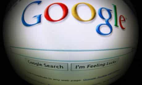 Google on a screen
