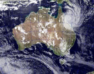 Cyclone Yasi preparations: Satellite image shows Cyclone Yasi approaching the coast of Australia