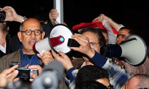 Mohamed ElBaradei speaks to the crowd of protesters