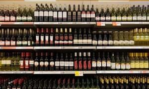 Cheap red wine on supermarket shelves