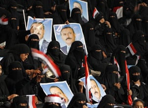 Arab protests: Sana'a, Yemen: Women supporters of President Ali Abdullah Saleh
