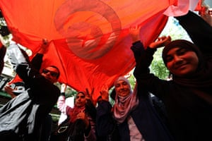 Arab protests: Tunis, Tunisia: Protesters shout slogans during a demonstration