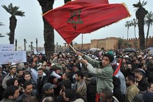 Arab protests: Rabat, Morocco: Moroccans demonstrate, demanding political reform