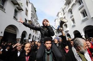 Arab protests: Rabat, Morroco: Moroccans demonstrate demanding political reforms a