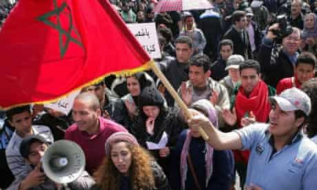Protesters march in Rabat, Morocco