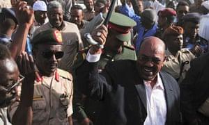 Omar al-Bashir at a rally in Omdurman 16/02/2011