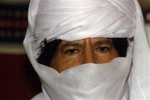 Muammar Gaddafi : September 1990: Libyan leader Muammar Gaddafi during a summit in Djanet
