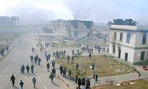 Burning buildings in Benghazi, Libya