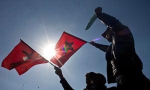 Morocco protest flag Casablanca