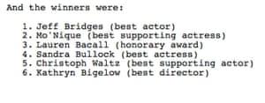 Oscar Wordles answers
