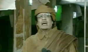 Muammar Gaddafi speaking on Libyan state TV