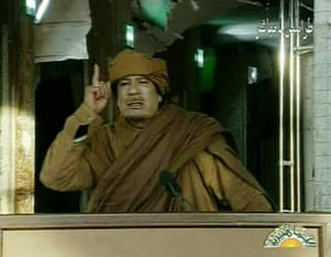 Muammar Gaddafi: February 22, 2011: Libyan leader Muammar Gaddafi addresses the nation