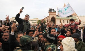 Protesters chant anti-government slogans in the main square of Tobruk