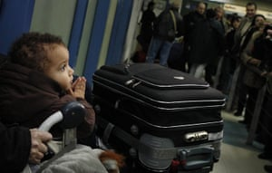 Libya unrest: A young Bulgarian child arrives with his parents at Sofia airport