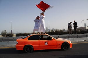 from the agencies: Pro-government demonstrators in Bahrain