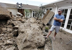 Christchurch earthquake: Tony Christie stands among rubble in his backyard in the suburb of Sumner