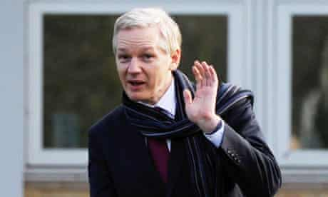 Julian Assange outside Belmarsh magistrates court after a judge ruled he can be extradited to Sweden
