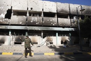 libya unrest: gutted military compound in Benghazi