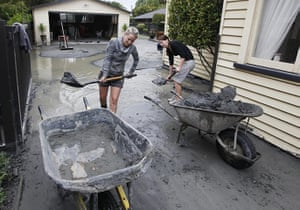 New Zealand Quake: Residents clear mud and silt from their earthquake damaged property