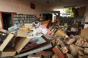 New Zealand Quake: The inside of David's Bookstore on Cashel Street in Christchurch