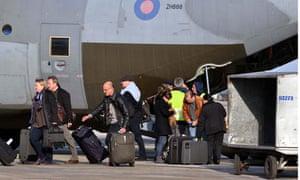 Libya Britain evacuation diembarking passingers at the Malta International Airport