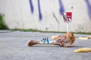 miniature sculpture: Bones, by Slinkachu