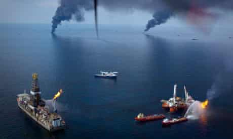 Oil is burned off the surface of the water after the Deepwater Horizon spill