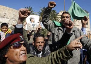 Libya 26 Feb: Supporters of Libya's leader Muammar Gaddafi in Tripoli