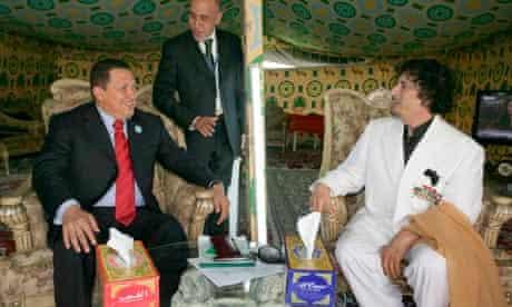 Venezuelan President Hugo Chávez with Libyan leader Colonel Gaddafi in Qatar, 2009