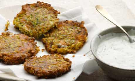 Courgette and manouri fritters