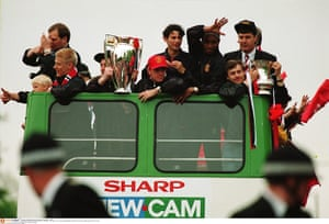 Giggs 20 Years: Ryan Giggs and team celebrate with Premier League trophy and FA Cup trophy