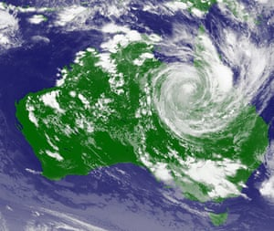 Cyclone Yasi: A weather satellite image shows cyclone Yasi moving inland