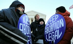 Pro-life activists discuss the abortion issue with pro-choice activists at the US Supreme Court.