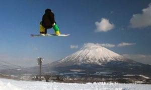 a snowboarder in Niseko