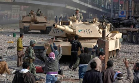 Egyptian army tanks in Tahrir Square Cairo, February 2011