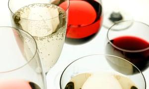 Wines in glasses