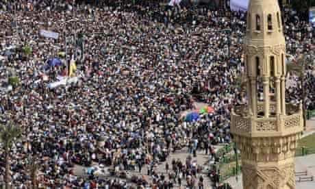 Protesters in Cairo's Tahrir Square, Egypt, on 4 February 2011.