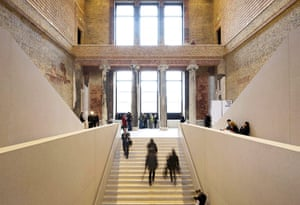David Chipperfield: Visitors walk up and down the stairs at