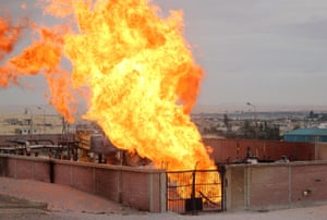 Egypt 05/02: Flames rise from a gas pipeline explosion