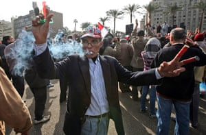 Egypt protests day 13: An anti Mubarak protester takes part in protests