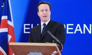 David Cameron at EU summit in Brussels, February 2011