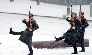 Soldiers march in the Moscow snow