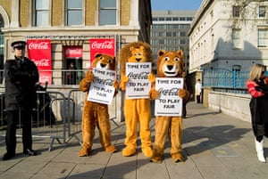 War on Want: protest outside the Coca-Cola sponsored UK leg of the World Cup Tour