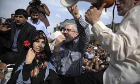 Iran's opposition leader Mir Hossein Mousavi addresses a June 2009 rally