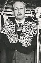 National Archives photo of Harold Macmillan in a ceremonial leopard skin, dated 1960