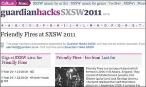 A Guardian SXSW listing page for Friendly Fires