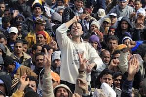 Libya: An Egyptian man fleeing the unrest at the Ras Jdir border crossing