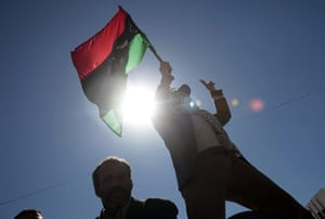Libya: Anti-government protesters demonstrate against Gaddafi, in Nalut