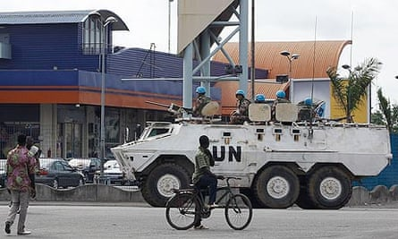 UN soldiers on the streets of Abidjan