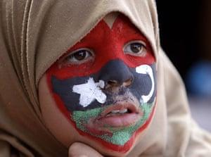 Libya unrest continues: A young anti-Libyan Gaddafi protester